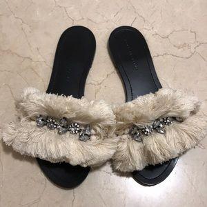 ZARA Fringe and Embellished Sandal Slides 37